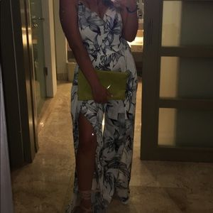 White and grey floral jumpsuit with slits